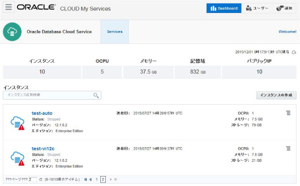 Oracle Database Cloud Serviceの管理画面